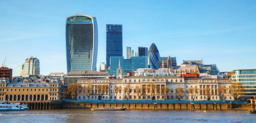 Financial district of London city on a sunny day