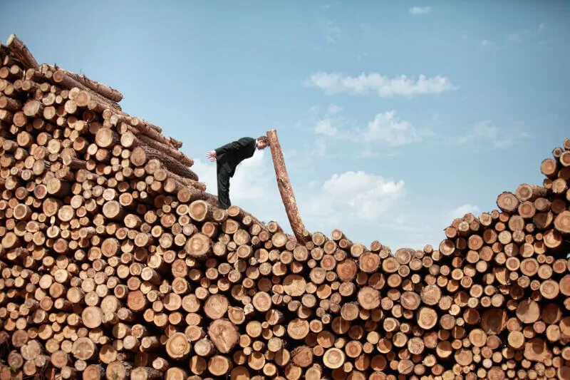 Man adding logs to a logpile
